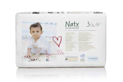 Naty By Nature Babycare, Pannolini usa e getta ecologici, taglia 3 (M, 4-9 kg), 52 pz.