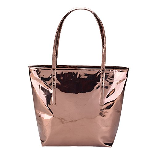 CarryWalk women's Metallic Tote Waterproof Bags Casual Women With Zipper Material Is Pu. (Copper)