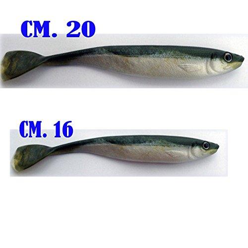 Pesce di Gomma Artificiale Esca Finta traina Mare Spinning spigola Serra luccio Black Bass (cm. 16)