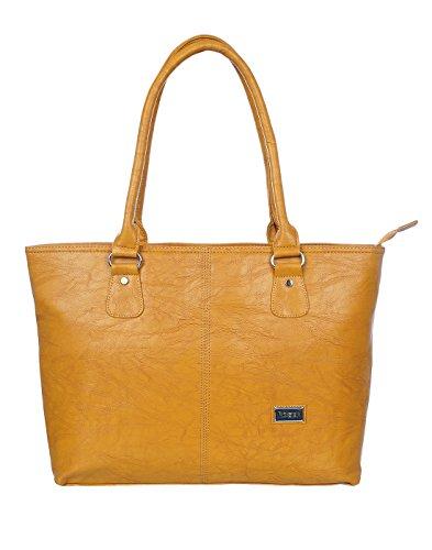 Rozen Women's PU 9 L Laptop Compartment Tote Bag (Golden)