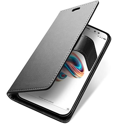 SLEO Funda Xiaomi Redmi Note 5 Pro/Xiaomi Redmi Note 5 Carcasa Libro de Cuero con Tapa Ultra Delgado Billetera Cartera [Ranuras de Tarjeta,Soporte Plegable,Cierre Magnético] Flip Cover - Negro