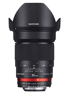 Samyang F1111006101 - Objetivo fotográfico DSLR para Sony E (Distancia Focal Fija 35mm, Apertura f/1.4-22 AS UMC, diámetro Filtro: 77mm), Negro