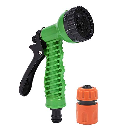 HOKIPO 7 Pattern High Pressure Garden Plastic Hose Nozzle Water Spray Gun with Connector, Green