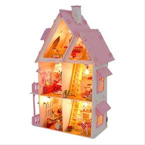 tytlmodel DIY Doll House, Kit De Muebles De Casa De Muñecas En Miniatura De Madera, Regalo De Luces Led De Villa, para Manualidades De Decoración del Hogar, (42X30X18Cm)