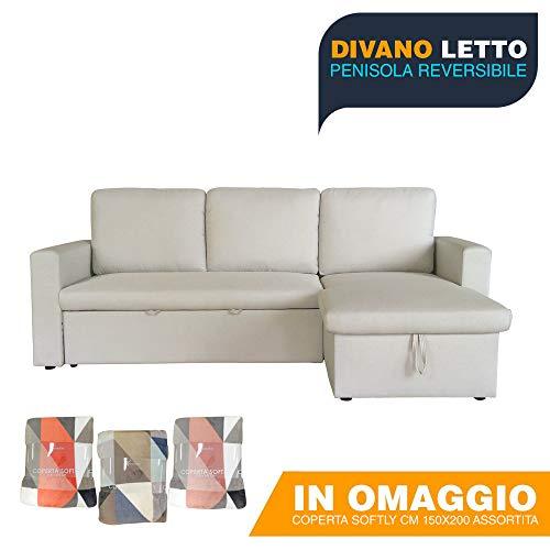 Divano Letto '3jolly' In Tessuto Ad Angolo Reversibile Con Penisola Contenitore, Trasformabile In...