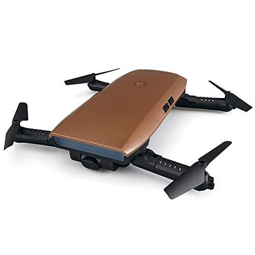 RC Drone con Telecamera HD 720P, WiFi Filmati dal Vivo FPV Mini Quadricottero Pieghevole, Sensore di gravità, Controllo App, GPS Return Home, Tascabile Drone, Buono per Principianti,Brown
