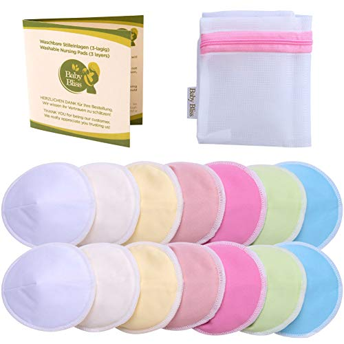 Baby Bliss Waschbare Stilleinlagen, Bambus, Konturiert (14er-Pack), Mehrfarbig, 12cm