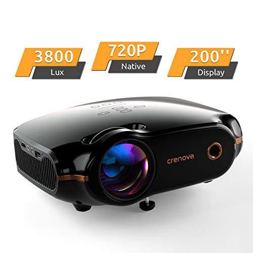 Proiettore 4000 Lux Mini proiettore, proiettore 1280 * 720P con borsa per il trasporto, supporta 1080P, Home Theatre proiettori con 50.000 ore di durata LED con HDMI/VGA/USB/AV nero