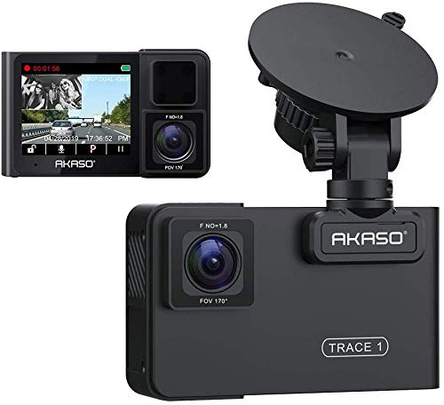 AKASO Trace1 Dash Camera Front 1080p60 Dual 1080p30 340 Degree Coverage Infrared Night Vision with Sony STARVIS Loop Recording G-Sensor for Cars Support Maximum 128GB Card
