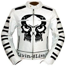 4LIMIT Sports Motorradjacke Leder Crossbones Biker Motorrad Jacke Lederjacke 4