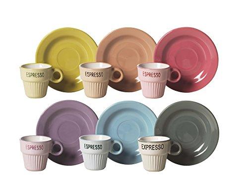 Excelsa Vintage Servizio 6 Tazzine da caffè con Piattino, Ceramica, Multicolore