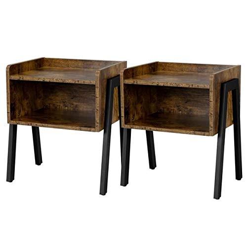 Yaheetech Set 2 Comodini Camera da Letto Vintage Industriale Tavolini Lato Divano da Salotto Portaoggetti Rustico Marrone