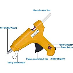 GLUN Hot Melt Glue Gun with 3-free Glue Sticks (60 Watt)