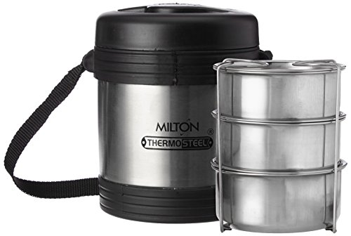 Milton Legend 3 Container Tiffin - Steel Plain 240ml,Small (TS - 230_STEELPLAINCO)