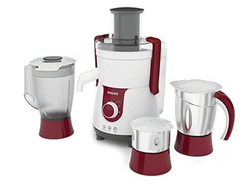 Philips Viva HL7715 700-Watt Juicer Mixer Grinder with 3 Jars (Pistil Red and White)
