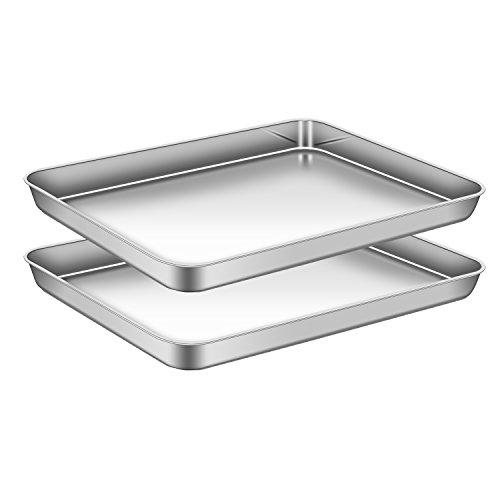 AEMIAO Set di 2 Teglia da Forno in Acciaio Inossidabile, Teglia Rettangolare per Pizza Torte -...