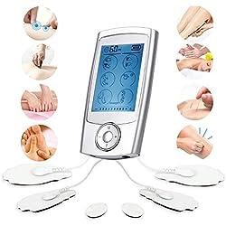 Tens/EMS Masajeador Electroestimulador con 16 Modos y 6 Electrodos para Masaje, para Aliviar del Dolor (Espalda, Cuello, Hombros, Piernas)