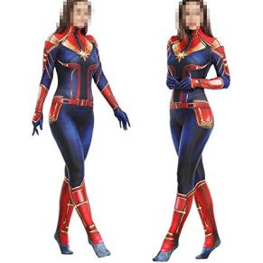 SPIDERMANHTT Medias corporales for adultos Stage Captain Marvel Cosplay Costume Show Props Impresión 3D Spandex Lycra (Color : Photo Color, Size : S(150-160))