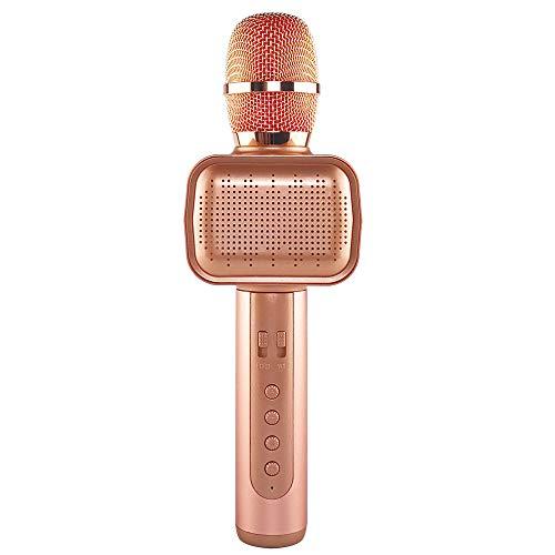 ZYG.GG Inalámbrico Bluetooth Karaoke Micrófono KTV portátil con Luces de Discoteca Calidad de Sonido Clara Apoyo USB, AUX Adecuado para Fiesta Pop Rock,Gold