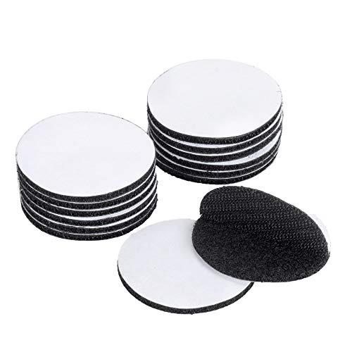 EOTW Velcro Adhesiva Redondo Colgar Cuadros Sin Agujeros Cinta Doble Cara Extrafuerte Cintas de Gancho y Bucle (⌀50mm-12pcs, Negro)