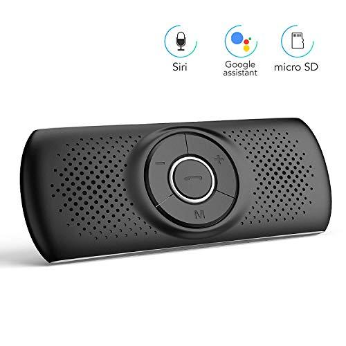 AGPTEK Vivavoce per Auto Bluetooth 4.2 con Siri, Assistente Comandi Vocali Google, e Scheda TF,...