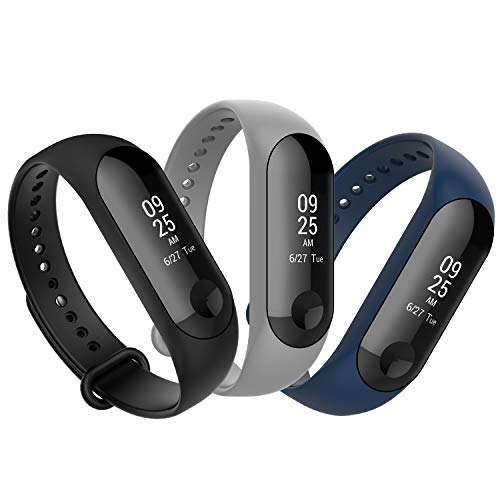Anjoo Cinturino Compatibile per Xiaomi Mi Band 4/Mi Band 3, Regolabile Sostituibile Cinturino Morbido per Xiaomi Mi Band 3/4 3-Pack(Nero, Blu Navy, Grigio)