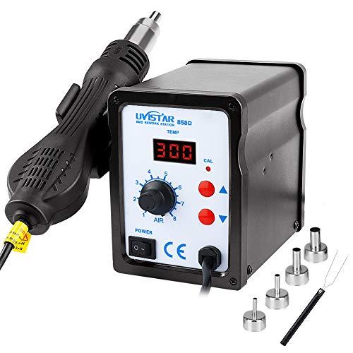 Lötstation, Heißluft Lötstation Entlötstation Rework Station 858D LED Digital Temperatur-Anzeige 100~450°C 700W inkl. 4 Heißluftföhn-Mundstücke