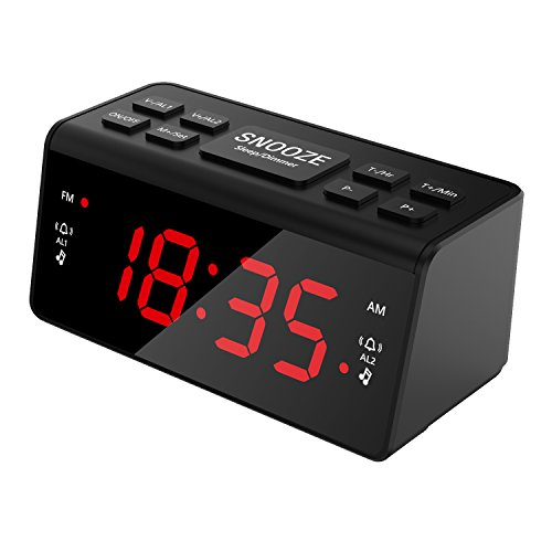Digital FM AM Radiowecker Uhr Mit Nachtlicht-Funktion, Easy Snooze, Dual Alarm, Sleep-Timer - Anpassbare Helligkeitsregulierung