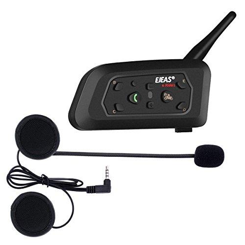 Ejeas V6 Pro Auriculares Intercomunicador Moto Bluetooth para Motocicletas, Gama Comunicación Intercom de 1200m, intercomunicador Casco Moto, Impermeabilidad, Intercomunicacion Entre 6 Motociclistas