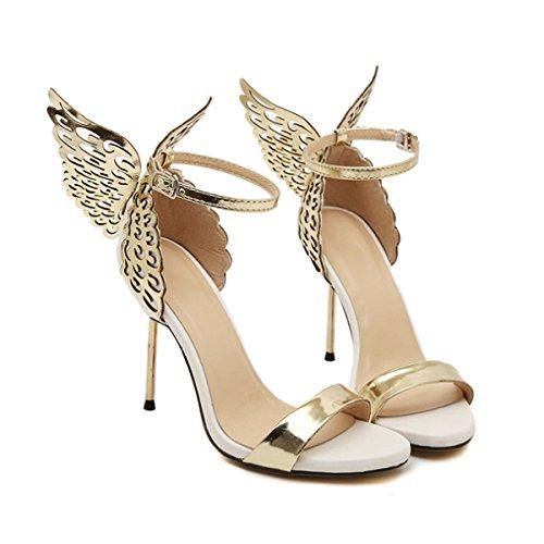 Hebilla De Mariposa De Las Mujeres Tacones Altos Atractivos Bombas De La Boda Del Partido Señoras Elegantes Alas De ángel Zapatos De Punta Puntiaguda