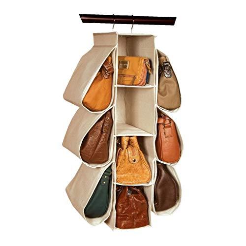 LONGTEAM - Supporto porta borse in tessuto non tessuto, 10 tasche, da appendere nell'armadio
