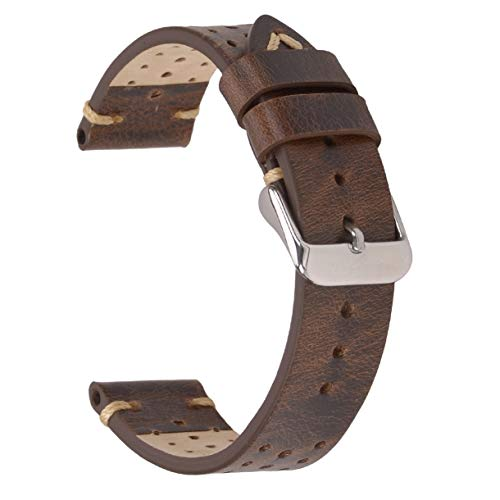 Racing Watch Band,Eache Perforated Vintage Leather Watch Replacement Strap,18mm in Retro Brown