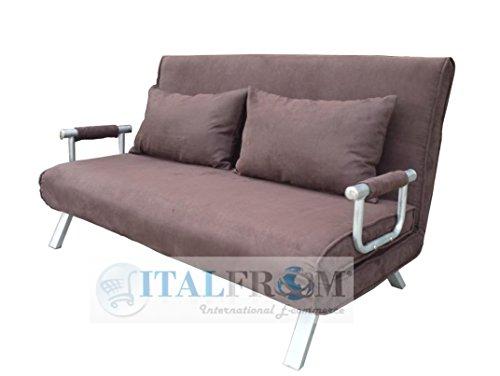 ITALFROM Sofa Bed Marrone 155x69x83h Divanetti Divano Letto 2 Piazze cod. 4033, Metallo