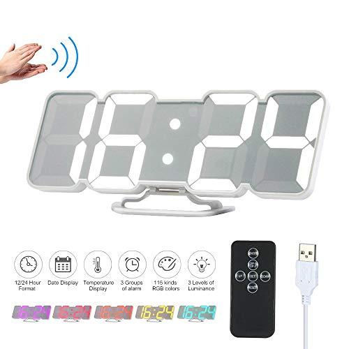 Decdeal Orologio da Parete Digitale,Sveglia da Comodino,3D Sveglia LED con Telecomando USB...