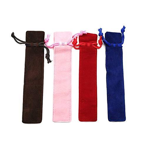 Set di 20 astucci singoli in velluto con coulisse, per penne e matite, colori assortiti