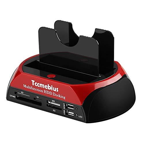 Tccmebius TCC-S862-DE USB 2.0 a SATA IDE Dual-Bay HDD Disco Rigido Docking Station con Lettore di...