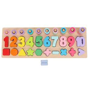 Juguete de forma de número, Color de madera Juguete de forma de número Matemáticas de aprendizaje Educativo Bloque de apilamiento - Aprendizaje de juguete de madera para niños pequeños(Arco iris)