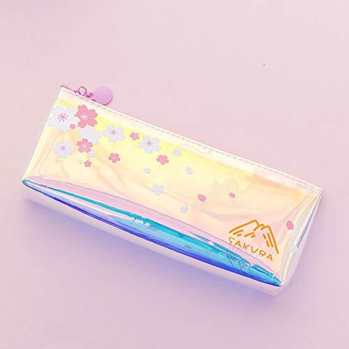 AQDFD AstuccioAstuccio per matita laser rosa Sakura Kawaii Girl Heart Trasparente Astuccio per penne...