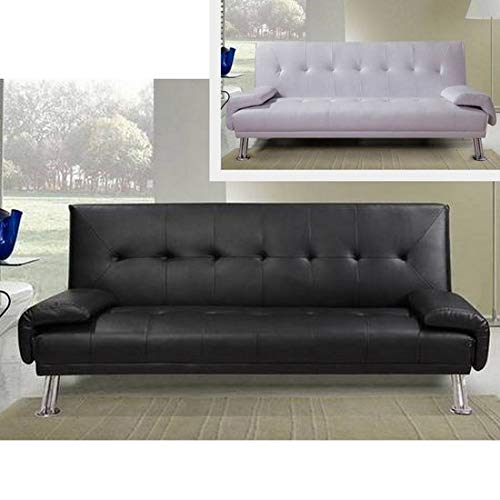 Divano letto ecopelle BIANCO o NERO da cm 194 sofa per soggiorno moderno per 3 persone modello Sibilla I