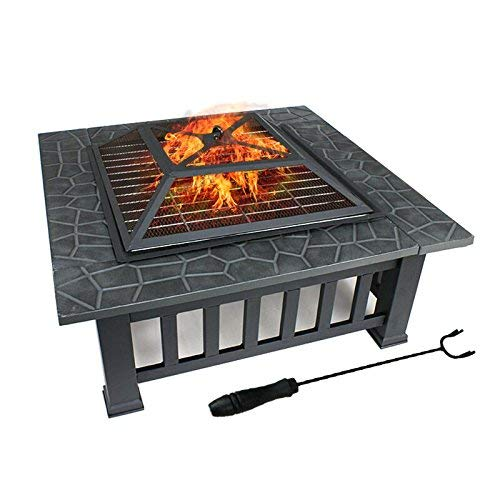 FOBUY Fire Pit BBQ stufa stufa braciere in metallo da giardino braciere + cover protettiva