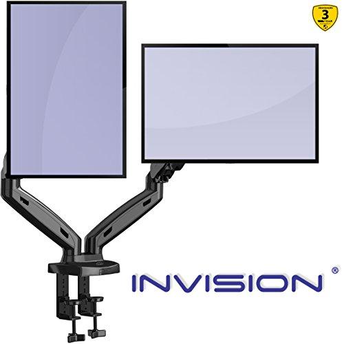 Invision Supporto per 2 Monitor da Scrivania - Ergonomico Altezza Regolabile (Assistenza Gas) per...