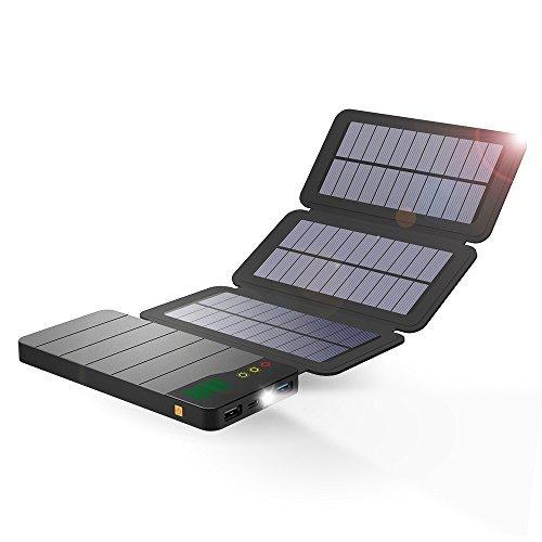 ALLPOWERS Cargador Solar Portátil con 10000mAh, Batería Externa 2 Puertos de USB 3 Panel Solar Power Bank Dual USB (5V 2A) para iPhone, iPad, Samsung Galaxy, androide y Otros Dispositivos