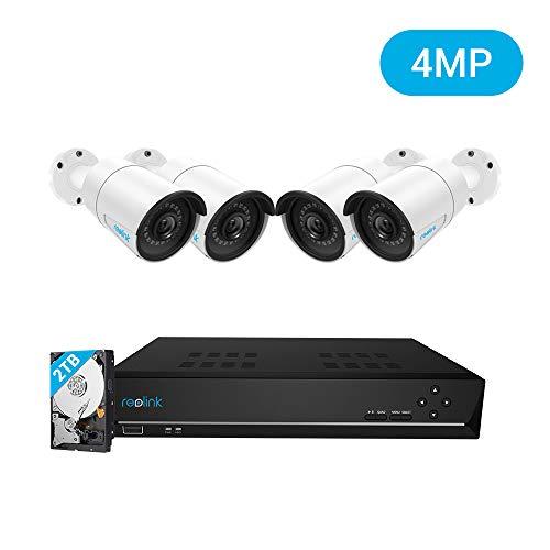 REOLINK 4MP Kit Videosorveglianza IP Poe, 8CH 4MP Poe NVR con 4x4MP HD Poe Videocamere Bullet IP da Esterno Impermeabile, HDD da 2TB Sistema di Sorveglianza, RLK8-410B4-4MP
