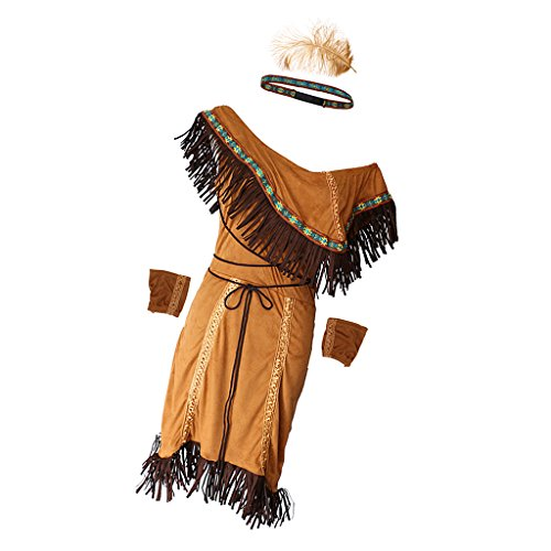 MagiDeal Set de Traje de Princesa India de Mujeres Estilo de India Americana Vestido de Lujo Cosplay Disfraz de Fiesta de Halloween de Noche - L