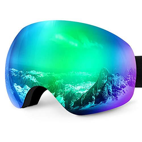 Karvipark Skibrille, Ski Snowboard Brille Brillenträger Schibrille Verspiegelt, Doppel-Objektiv OTG UV-Schutz Anti Fog Snowboardbrille Damen Herren Kinder für Skifahren Snowboard (Grün VLT10{d85150ae6784f5d622c76964a72732e51bc60df86f1c3cfc4a959574123a70d8})