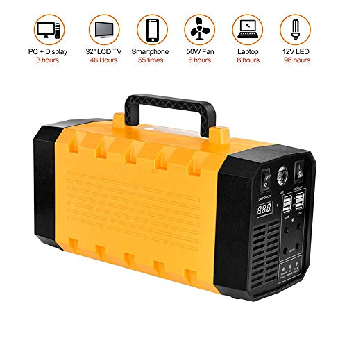 BQT Generador Solar portátil de 500 W, Fuente de alimentación de generador Recargable, con inversor de CA, USB, Salida de CC de 12 V, Adecuado para Exteriores e Interiores (288Wh / 12V 36Ah Amarillo)