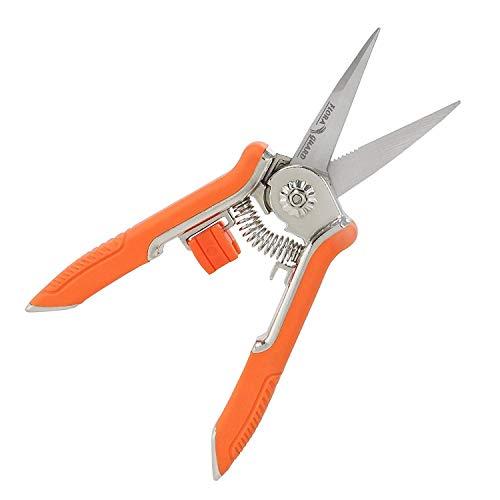 FLORA GUARD 6.5inch Micro Punta de Hoja Recortadora de jardineria poda SNIP Tijeras de podar con Mano de Acero Inoxidable?Orange?