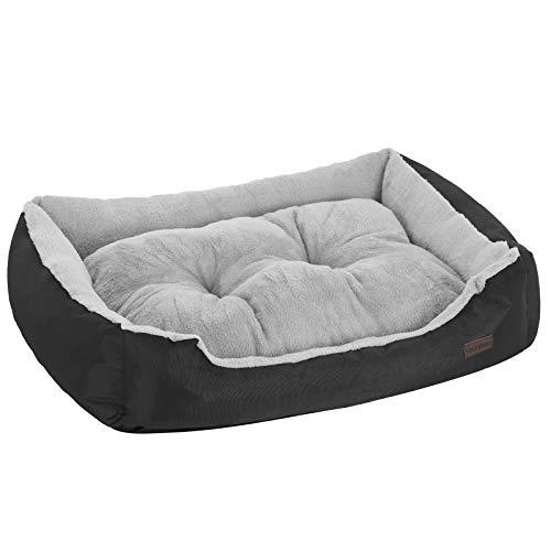 FEANDREA Hundebett, für Hunde bis 30 kg, 90 x 70 x 21 cm, schwarz-grau PGW04BG