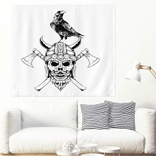 Alfombra de pared con diseño de cráneo vikingo y cuervo con dibujo de dos hachas vikingas, tatuaje y tatuaje de pared, estilo nórdico 230x150cm blanco