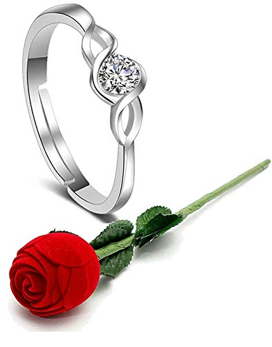 Yellow Chimes Engagement Proposal Ring with Velvet Red Rose Ring Box by Yellow Chimes Silver Plated Ring for Women (Silver) (YCFJRG-314ENG-SL-WF)